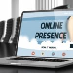 Online presence concept on a laptop
