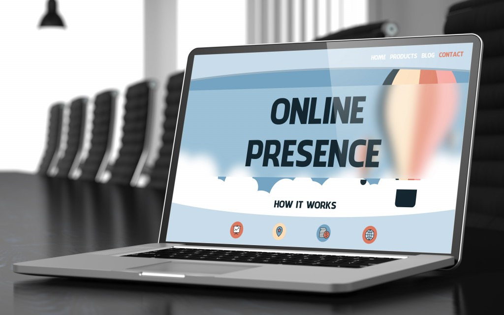 Online presence concept on a laptop
