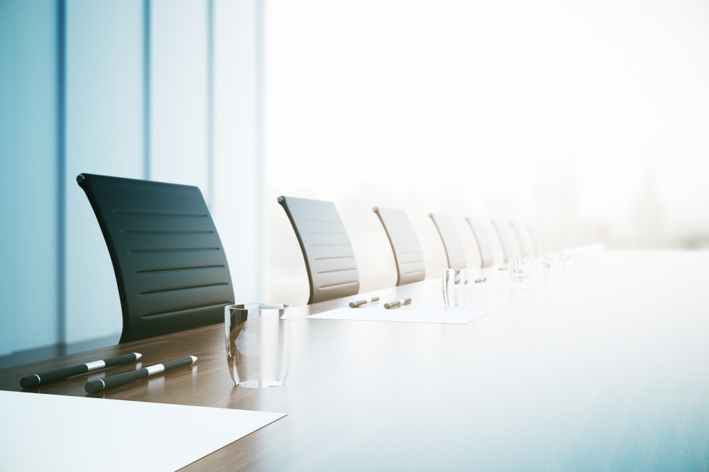 Desk and chairs in a conference room