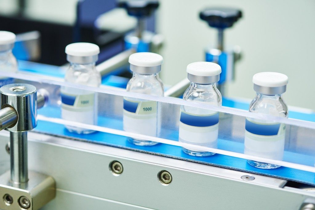 medicine vials inside a factory