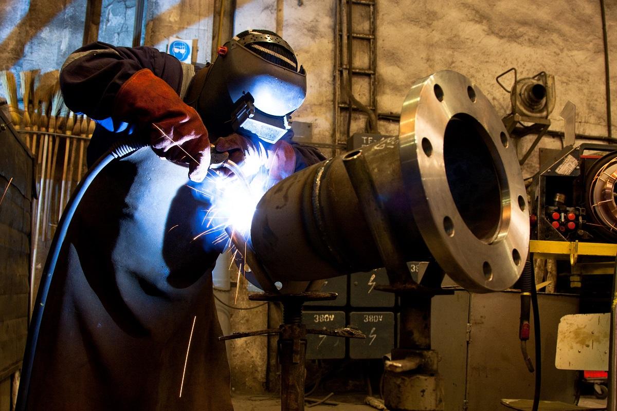professional welder welding