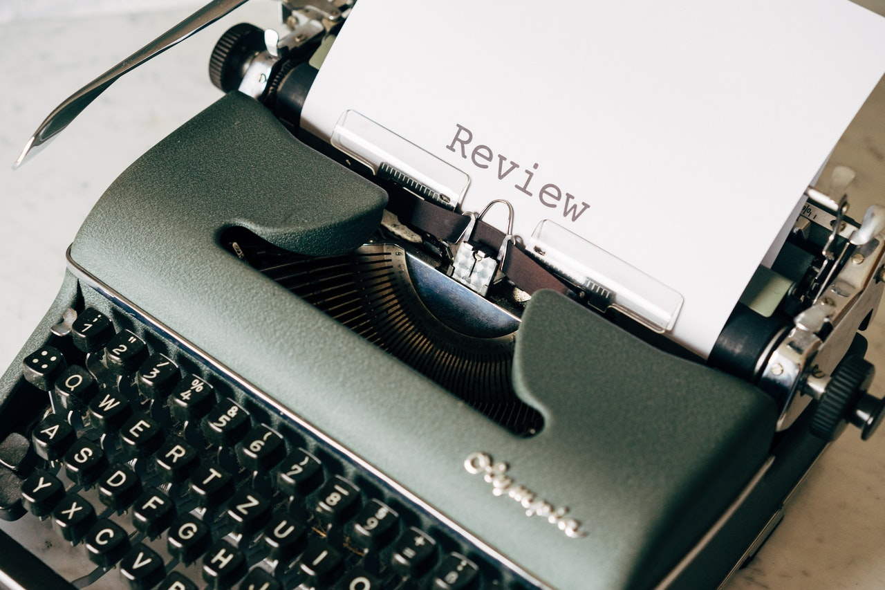 review on a typewriter