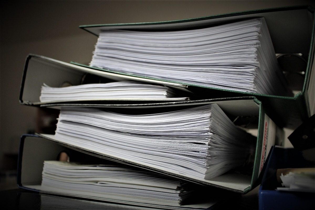 a stack of documents