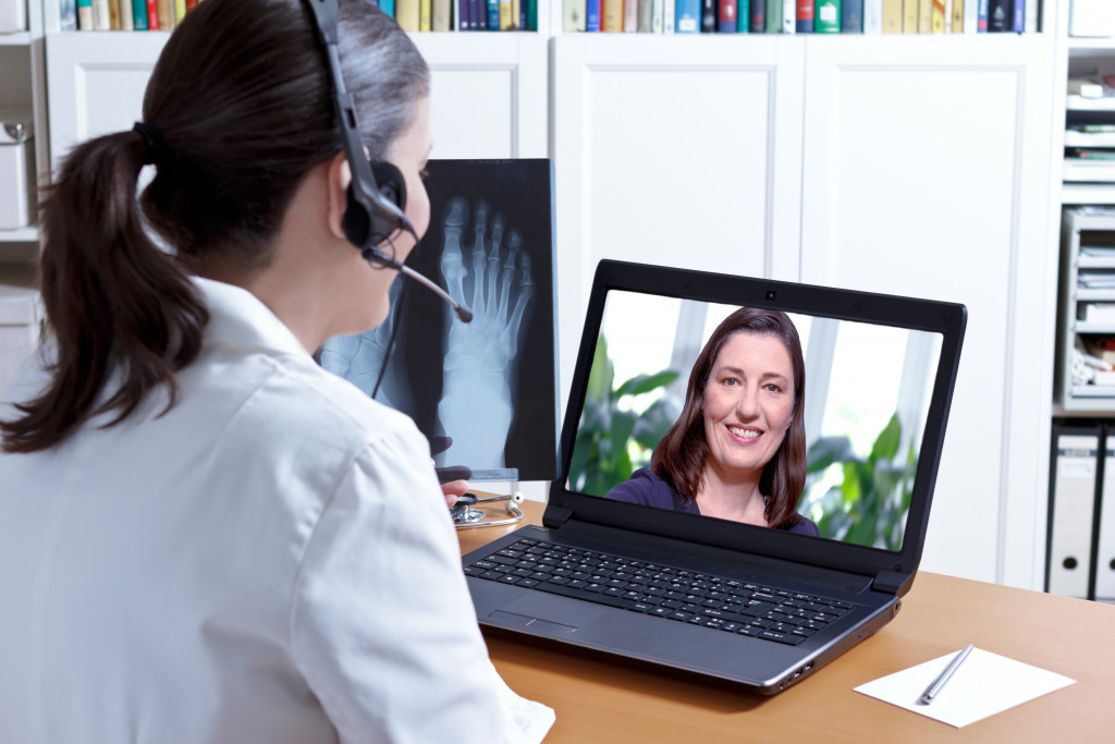 doctor in a video call